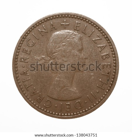 English three lions passant coat of arms 1960 Elizabeth II One Shilling Coin  - stock photo