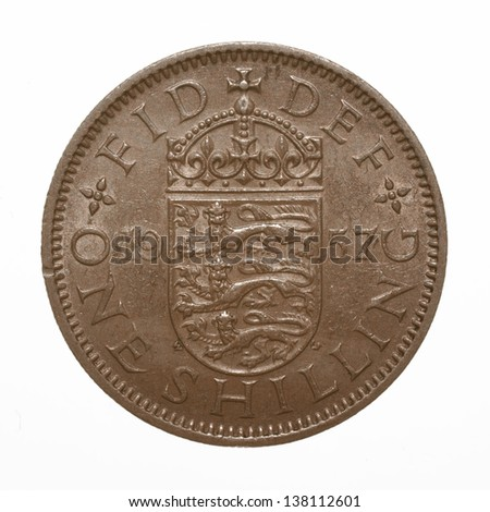 English three lions passant coat of arms 1957 Elizabeth II One Shilling Coin - stock photo