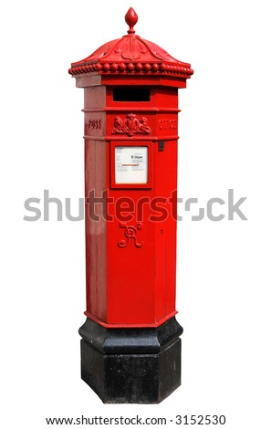 English Victorian hexagonal post box isolated on a white background. - stock photo