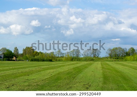 English village green, country park near a residential dwelling - stock photo