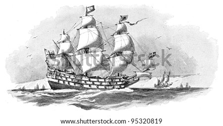 English warship (Royal Sovereign) / vintage illustration from Meyers Konversations-Lexikon 1897 - stock photo