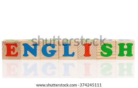 English word formed by colorful wooden alphabet blocks, isolated on white background  - stock photo