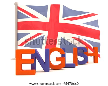 English word with british flag. 3D model - stock photo