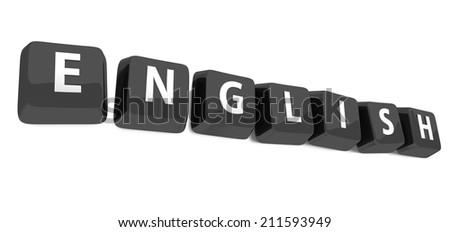 ENGLISH written in white on black computer keys. 3d illustration. Isolated background. - stock photo