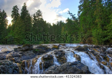 englishman river falls in BC canada - stock photo