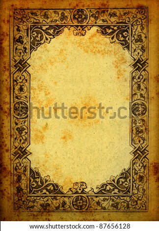 Engraved frame on vintage paper - stock photo