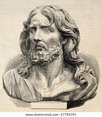 Engraved illustration of Jesus Christ's head. Original, from drawing of Worms after photo of Lapanne of  a marble sculpture of P. Puget, was published on L'Illustration, Journal Universel, Paris, 1860 - stock photo