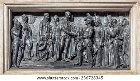 Engraved in the monument of king Pedro IV on the Liberdade square in Porto, Portugal. - stock photo