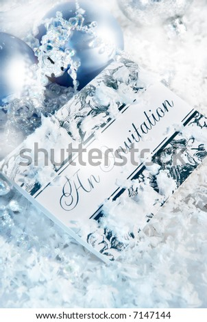 engraved invitation with christmas ornaments - stock photo