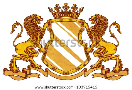 engraved medieval crest with crown and lions - stock photo