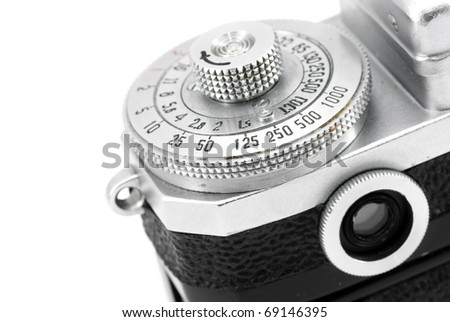 Engraved numbers on settings dial and viewfinder of vintage rangefinder camera