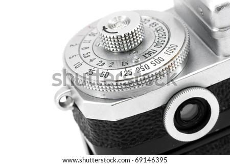 Engraved numbers on settings dial and viewfinder of vintage rangefinder camera - stock photo