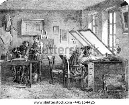 Engravers shop, vintage engraved illustration. Magasin Pittoresque 1852.