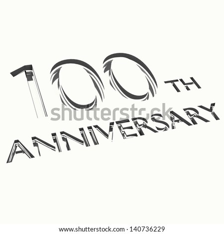 engraving of 100th anniversary words, for celebrations. 3d render. - stock photo