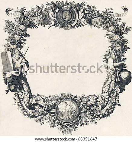 Engravings, vintage frame design - stock photo