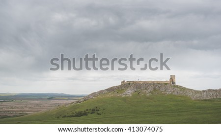 Enisala Fortress in a cloudy day