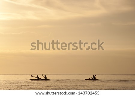Enjoy canoeing in the beautiful beach of Thailand sea - stock photo