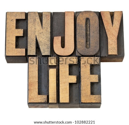 enjoy life - isolated text in vintage letterpress wood type - stock photo