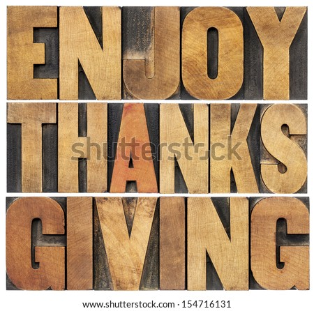 Enjoy  Thanksgiving  - isolated text in vintage letterpress wood type blocks scaled to a rectangle shape - stock photo