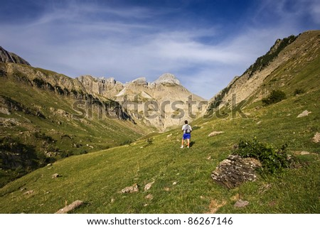 Enjoy the nature in pyrenees - stock photo