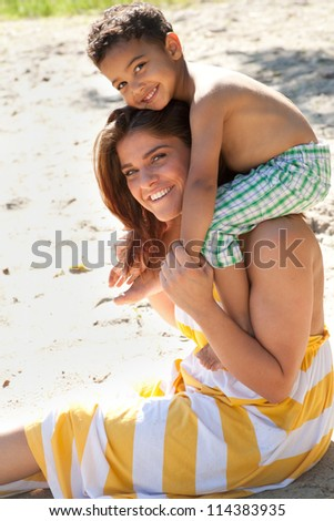 Enjoy this time with my lovely son - stock photo