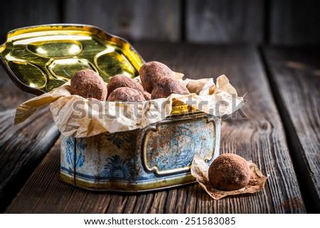 Enjoy your chocolate balls - stock photo