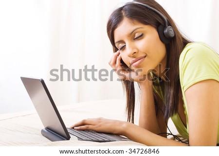 enjoying music - stock photo