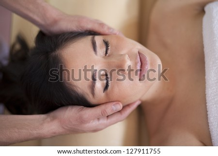 Enjoying myself at a healthy and beauty spa - stock photo