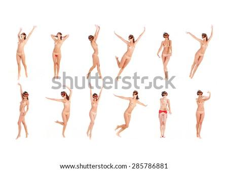 Enjoying Nudity Naked and Dancing  - stock photo