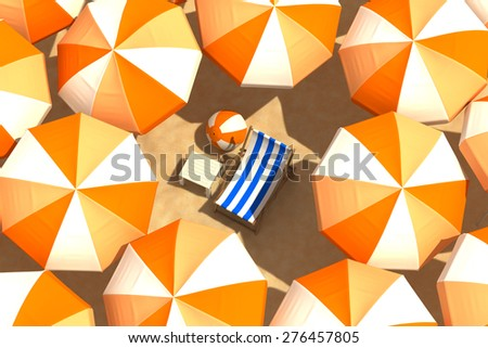 Enjoying The Beach - stock photo