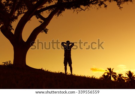Enjoying the great outdoors - stock photo