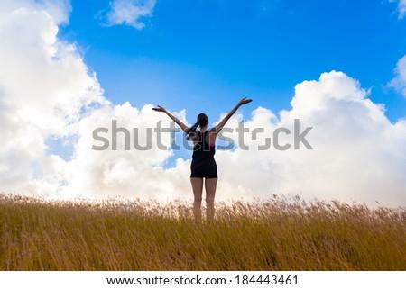 Enjoyment. Free happy woman enjoying summer day in Hawaii.  - stock photo