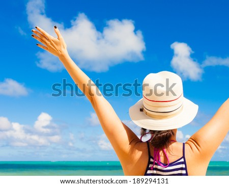 Enjoyment - Happy free woman enjoying summer in Hawaii. Serenity in nature. Freedom concept. - stock photo