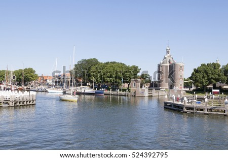 Enkhuizen,IJsselmeer,Netherlands,june 2106:The outer harbour of Enkhuizen is an touristic region near the Markermeer.It draws many tourist.