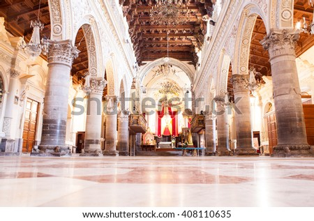 ENNA, ITALY - MARCH, 29: Interior of the Enna cathedral called Duomo di Enna on March 29, 2016