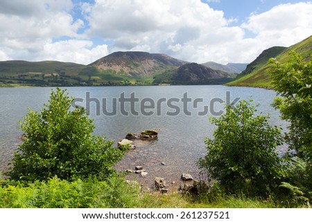 Ennerdale Water Lake District National Park Cumbria England uk with mountains and fells in summer - stock photo
