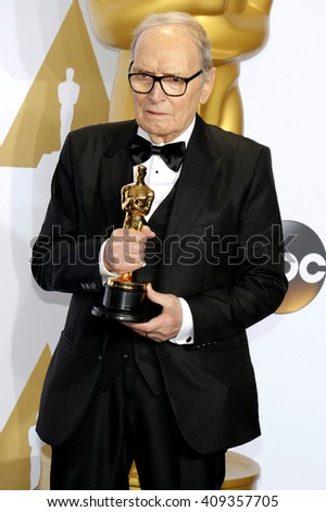Ennio Morricone at the 88th Annual Academy Awards - Press Room held at the Loews Hotel in Hollywood, USA on February 28, 2016.