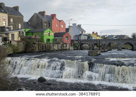ENNISTYMON, IRELAND - FEBRUARY 28, 2016: Cascades on river Inagh in town of Ennistymon