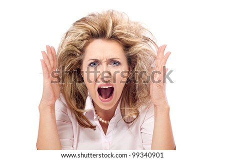 Enough! Angry frustrated woman screaming - stock photo