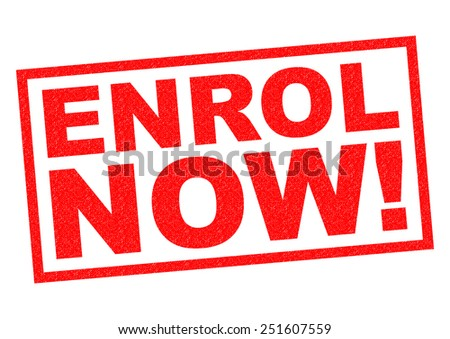 ENROL NOW! red Rubber Stamp over a white background.