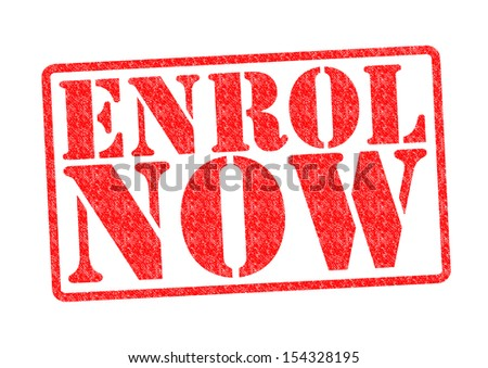 ENROL NOW Rubber Stamp over a white background. - stock photo