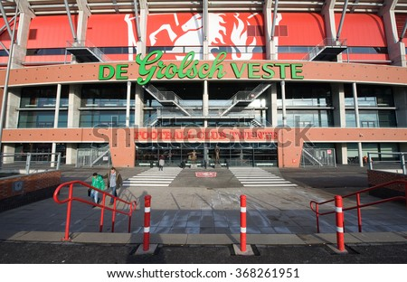 ENSCHEDE, THE NETHERLANDS - JAN 22, 2016: Main entrance of the soccer stadium of football club FC Twente