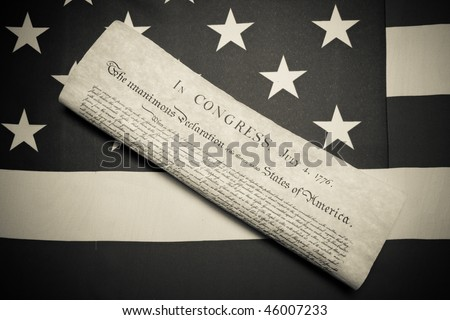 ensign of the USA with declaration of independence