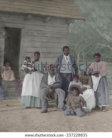 Enslaved African American family representing five generations born on the plantation of JJ Smith, Beaufort, South Carolina. Timothy O'Sullivan photographed the slaves in 1862. - stock photo