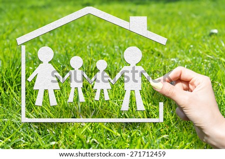 Ensure with insurance policy your family and home concept