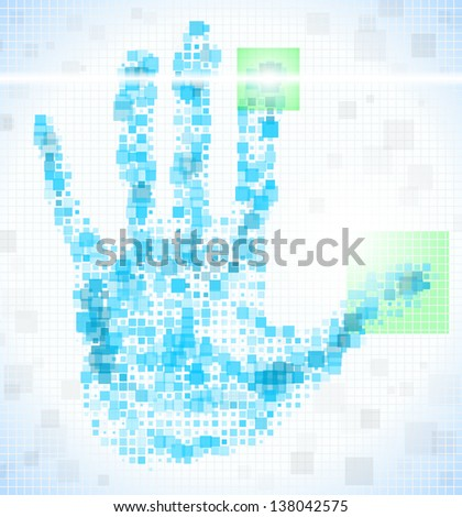 Enter Access Code using the fingerprint.  Template for style design. - stock photo