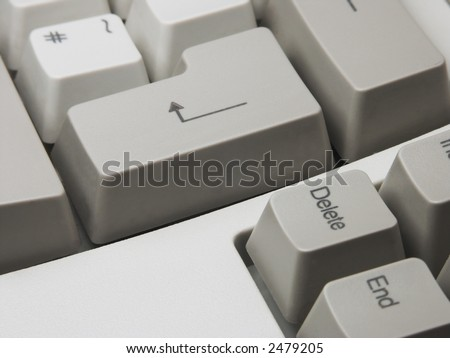 Enter and delete keys of computer keyboard took close