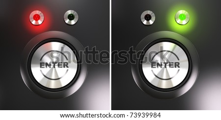 Enter button and access label with red and green led for authorized and denied access