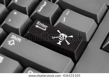 Enter button with Emanuel Wynn Pirate Flag - stock photo