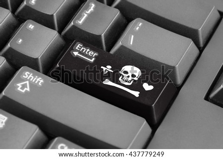 Enter button with Stede Bonnet Pirate Flag - stock photo